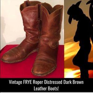 Vintage Frye Roper Distressed Brown Leather Boots!